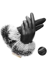 Pelo de engrosamiento impermeable mantener caliente conejo de invierno guantes de cuero , 2