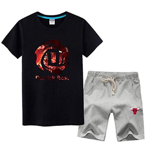 QAZ NBA T-Shirt Basketball T-Shirt Männer Kurzarm Set Chicago Bulls Derrick Rose # 1 Rose Basketball Fans Sport T-Shirt Training Kleidung Set,Black3-XXXL (Derrick Rose Logo Shirt)
