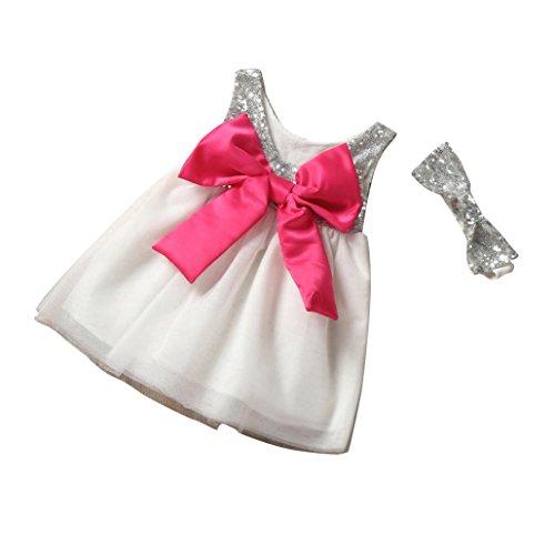 by Kinder Mädchen Kleid mit Pailletten Schleife Sommerkleid Ballkleid Tüll Kostüm Prinzessin Kleid Stirnband Karneval Party-Girl Kleider (0-4Jahre) (80CM 18Monate, White) (80 Kostüme Party Stadt)