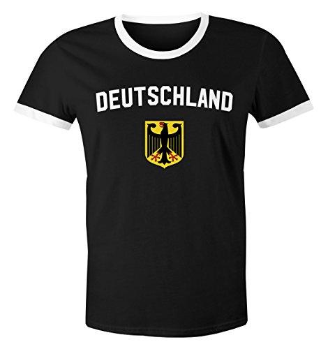 Fieber Schwarzes T-shirt (MoonWorks WM Shirt 2018 Fußball Deutschland Adler Wappen Herren Retro schwarz-weiß-gelb L)