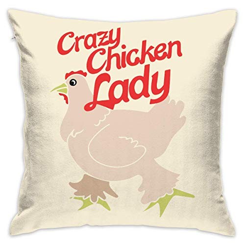 LongTrade 4 Größen Kissenbezug Crazy-Chicken-Lady Decorative Throw Pillow Covers Euro Sham Cushion Sham Square Cushion Case Pillowcases for Living Room Sofa Bedroom Car