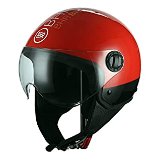 BHR Motorrad Helm Demi-Jet Line One 801, Style Rot, S (55/56cm)