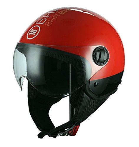 BHR 11112 Casco Moto Demi-Jet Modelo 801 con Linea One, Style Rosso, S