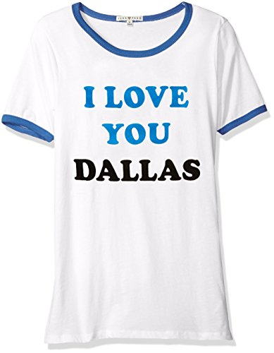 Junk Food NBA Damen T-Shirt Dallas Alics Free Throw Ringer, Größe L, Electric White/Liberty -