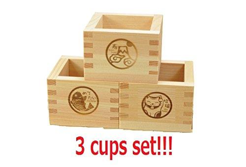 ] Yamako aus japanischer Cypress quadratisch Sake Cup Set shofuku gepflegten Katze, Kotobuki MT. Fuji & Medetai Red Snapper aus Japa ()