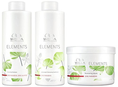Wella Elements Erneuerungs-Shampoo (1000 ml) & Conditioner (1000 ml) & Maske (500 ml) (Wella Shampoo Elements)