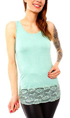 Easy Young Fashion Damen Träger Top Longtop Tanktop Spitzentop Unterhemd Spitzensaum Enganliegend Lang Einfarbig M/L-38/40 Minze (Shirt Aqua-spitze)