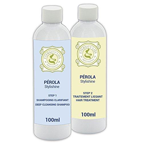 Eternity'Liss Lissage Brésilien Perola Kératine - Kit 2 x 100 ml - Shampooing (STEP1) et Kératine (STEP2)