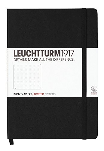 Leuchtturm1917 329398 Carnet Medium (A5), 249 pages numérotées, noir, pointillés