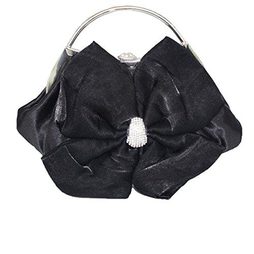 Damen Großer Abend Satin Braut Damen-Handtasche-Partei Black