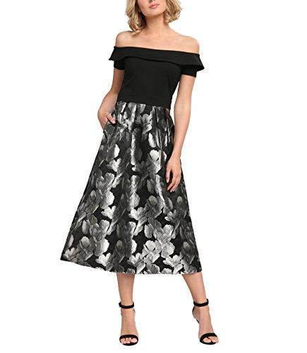 APART Fashion Damen 60489 Kleid, Mehrfarbig (Schwarz-Silber), 40
