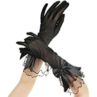 Donna Sexy guanti corti pizzo tulle full-fingered sera matrimonio sposa guanti Halloween costume accessori guanti guanti