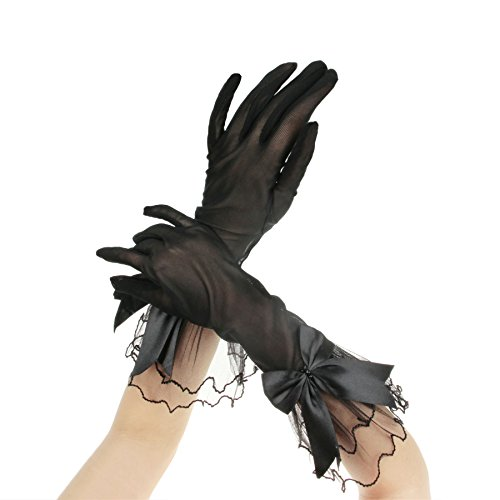 FakeFace Brauthandschuhe Fingerspitzen Handgelenk-Länge Handschuhe Brautaccessoires Spitze Tüll Party Abendhandschuhe für Frühling Sommer Herbst 1 (Kostüm Burlesque Braut)