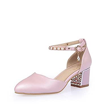 AllhqFashion Women's Buckle Pointed Closed Toe Kitten Heels Solid Pumps Shoes, Pink, 32