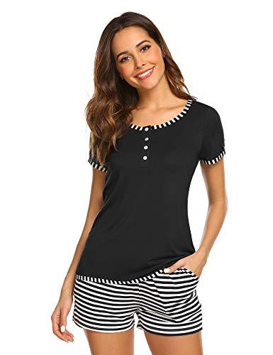 Set Sommer Schlafanzug Baumwolle Kurzarm Jersey Nachtwäsche Zweiteilig schwarz m ()