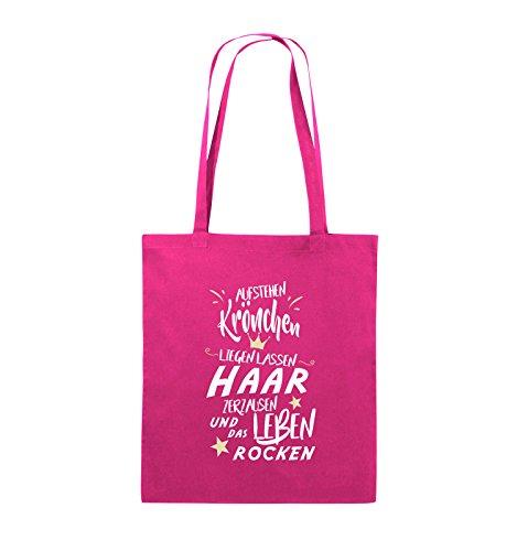 Comedy Bags - Aufstehen Krönchen liegen lassen Haar zerzausen und das Leben rocken. - Jutebeutel - lange Henkel - 38x42cm - Farbe: Schwarz / Weiss-Neongrün Pink / Rosa-Weiss-Beige
