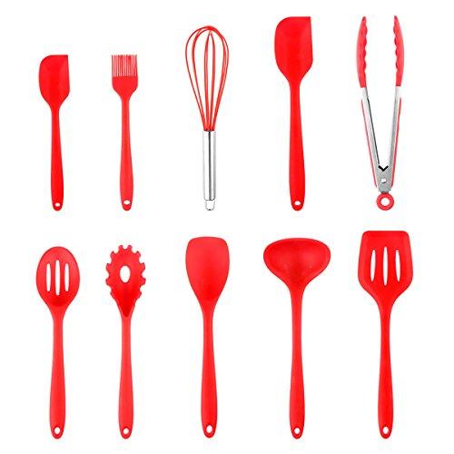 Silicone Cooking Tool set di utensili da cucina in silicone resistente al calore 10PCS da set di utensili da cucina FDA approvata cucchiaio/spazzola/frusta/spatola/mestolo/paletta/cucchiaio//pasta forchetta