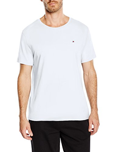 Tommy hilfiger cotton cn tee ss icon, t-shirt da uomo, bianco (classic white 100), s