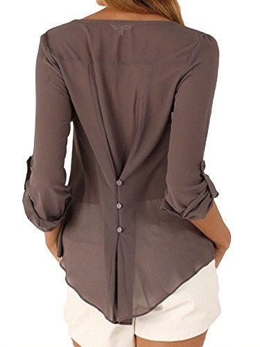 JLTPH Donna Sexy Camicetta Chiffon Manica Lunga con Scollo V T Shirt Estiva Buse e Camicie Eleganti Camicia Bluse Maglie Tops color3