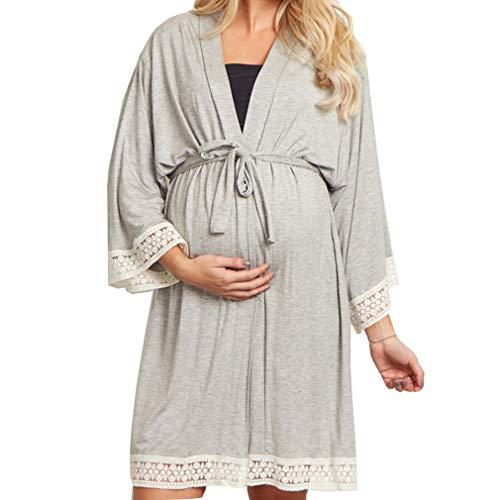 Gagacity - Básico Mujer Embarazada Lactancia Bata/Camisón/Pijama,Gris