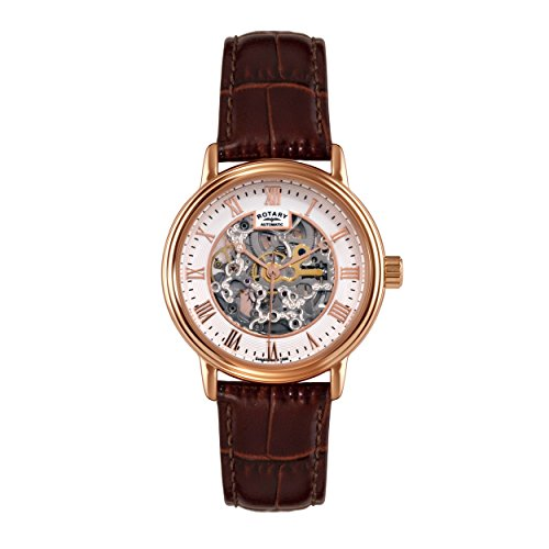 Rotary Men's Automatic Watch with White Dial Analogue Display and Brown Leather Strap GS00310/01