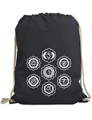 Baddery: Sieben Chakren - Turnbeutel mit Spruch - Esoterik - Buddhismus - Yoga - Zen - Hinduismus / Collegebag / Gymbag / Sportbeutel / Turnbeutel (Dunkelgrau)