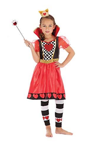 Bristol Novelty CF216 Herzkönigin Kostüm, Girls, Red, Black,White, L