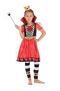 Bristol Novelty CF216X (XL) - Disfraz de reina de corazones para niñas, color rojo, negro y blanco