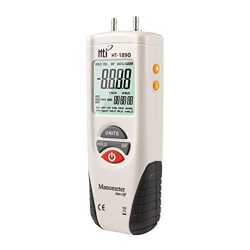 Manómetro digital, medidor de presión de aire de doble puerto, medidor de presión de gas HVAC, pantalla...