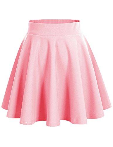 Dresstells Damen Basic Solide vielseitige Dehnbar Informell Mini Glocken Pink XL
