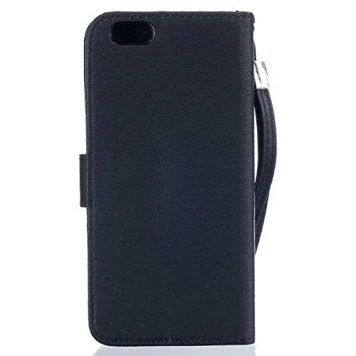iPhone Case Cover IPhone 6 6S Case, coloré Colorful Pattern Wallet Style Case magnétique Flip Flip Folio Housse en cuir Housse Housse Standup pour IPhone 6 6S ( Color : White , Size : IPhone 6 6S ) Black