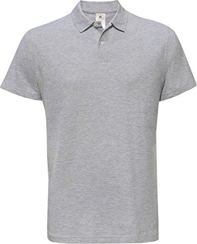 B & C ID. 001Short Sleeve Polo Shirt Herren Casual Wear 2Button Baumwolle Tee Top Grau - Erika-Grau