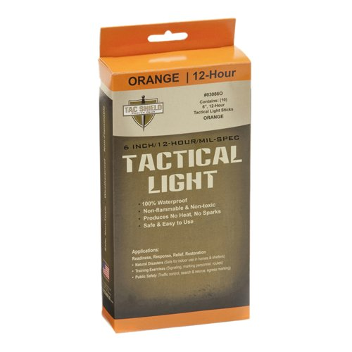 TAC SHIELD TACTICAL 12 HOUR LIGHT STICK (10-PACK)  ORANGE
