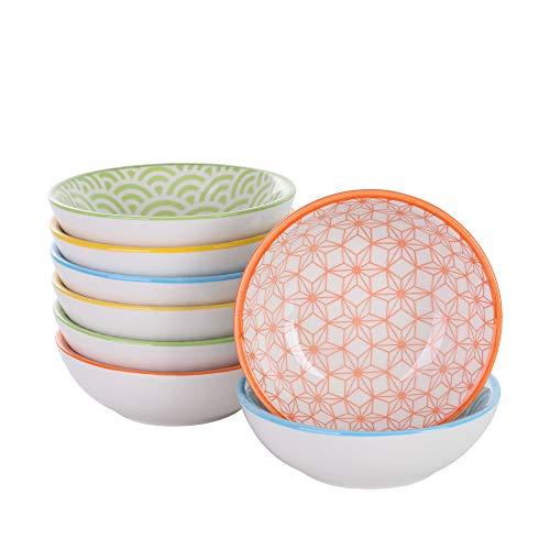 Vancasso natsuki set 8 pezz servizio da tavola in porcellana set di ciotole ceramica combinazione piattini, vassoi per aperitivi e tapas fruttiere insalatiere colore bianca crema e arancione