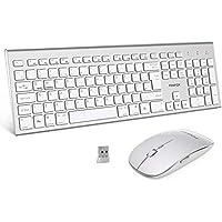 FENIFOX Wireless Keyboard & Mouse, Dual System Switching Double Ergonomic 2.4G USB QWERTY Full Size UK Layout for Computer PC Mac imac Laptop Windows 10 8 7 Xp (Silver & White)