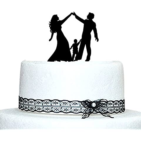 Buythrow Family Wedding Cake Toppers Bride and Groom Silhouette with Boy or Girl by buythrow cake