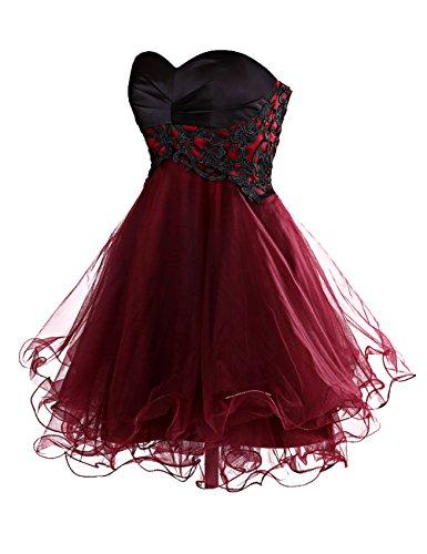 Dresstells, Robe courte de cocktail organza bustier en cœur avec appliques en dentelle Rouge Foncé