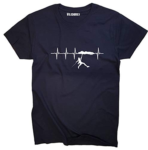 Wolkenbruch® T-Shirt Klettern Herzfrequenz, Navy, Gr.L (Shirt Klettern)