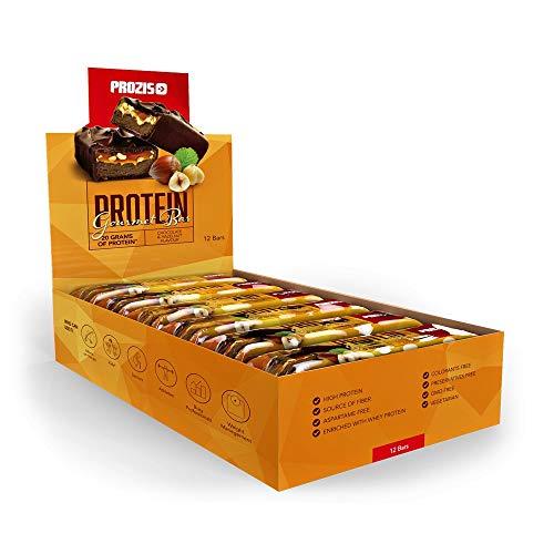 Prozis protein gourmet bar baretta di proteine, 80 g, cioccolato-nocciole, confezione da 12 pezzi