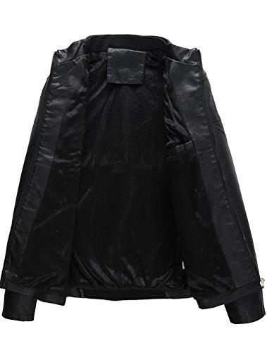Vogstyle Hommes Veste Fit Basic Biker Cuir Style-5 Noir