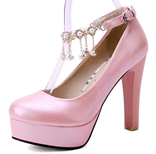 Aisun Damen Elegant Einfarbig Künstliche Perlen Troddel Trichterabsatz Pumps Mit Plateau Pink 35 EU eG3NrkG7dd