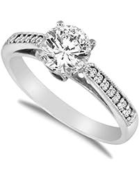 14 K sólido blanco oro corte redondo Zirconia cúbico boda anillo de compromiso con canal side