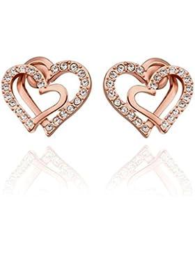 Adisaer 18K Rose Gold Vergoldet Ohrstecker Damen Weiß Kristall Ohrringe Doppelt Herzen Zirkonia Ohrschmuck Hochzeit