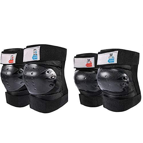 Preisvergleich Produktbild Knieschützer Ellenbogenschutzbeinschutz Für Den Außenbereich Anti-Fall Erdbebenresistenz Sport-Knieschützer,  Anti-Sturzbogen Motorrad Skifahren Rollschuhlaufen Reiten Vierteiliges Set (FP3)