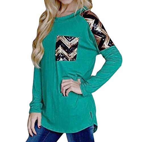 Pullover Sweatshirt für Damen,Kobay 2019 Halloween Heiligabend Weihnachten Neue Frauen Herbst Casual Langarm Pailletten Bluse Tops T Shirt Pullover (Top Tank Back Racer Pailletten)