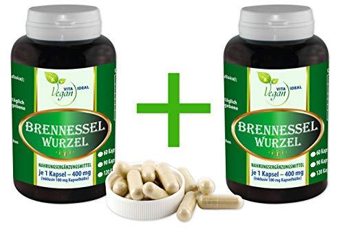 """Vegan""""MEGA-SPAR-POT"""" 2x360 Brennessel Wurzel pflanzliche Kapseln, je 300 mg rein natürliches Pulver, ohne Zusatzstoffe"""