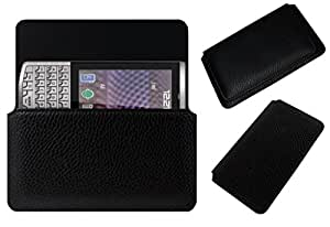 Acm Horizontal Leather Case For Karbonn Smart A100 Mobile Cover Carry Pouch Holder Black