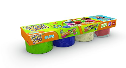 Super Sand - Pack de 4 botes, color azul / verde / blanco / molde (Goliath 83222006)