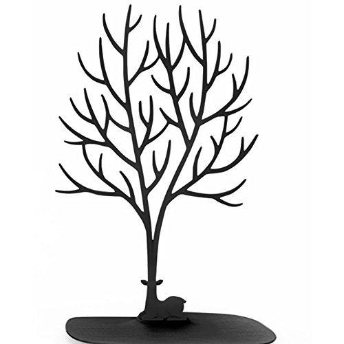 Schmuck-Display/Ständer/Halterung - Sika Deer Baum Schmuck Halter Schmuck Organizer für Ringe Halskette Geburtstag Geschenke Weihnachts Schmuck Ständer Rack Aufbewahrung, schwarz, L