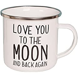 Sass y Belle – Taza esmaltada – Love you to the moon and back Again. Blanco y Negro Taza
